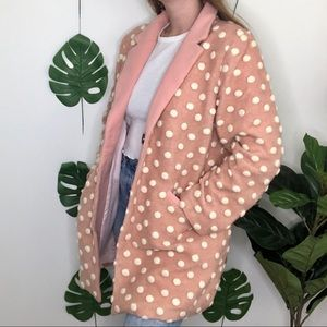 Modcloth Salient Polka Dot Wool Pink Collared Coat